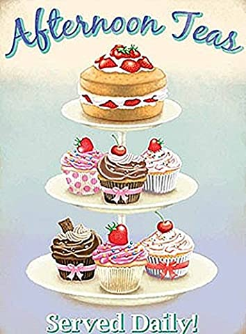 Afternoon Teas. Cake Stand. Food, sponge cake, cupcakes, Retro, vintage advertising sign for kitchen, cafe, coffe shop, pub, coffee shop, restaurant or grocery shop Large Metal/Steel Wall Sign