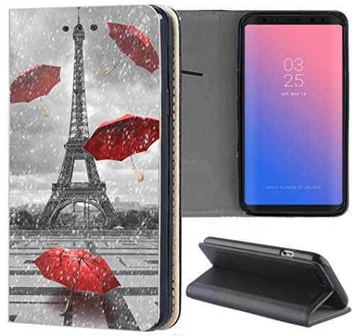 flipcover s5 Samsung Galaxy S5 / S5 Neo Hülle Premium Smart Einseitig Flipcover Hülle Samsung S5 Neo Flip Case Handyhülle Samsung S5 Motiv (1107 Eifelturm Paris Frankreich Rot Grau)