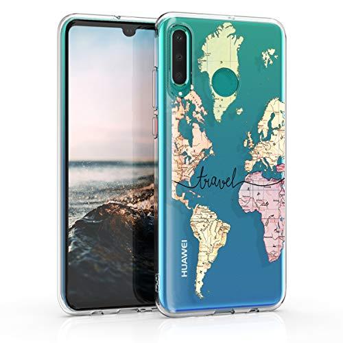 kwmobile Huawei P30 Lite Hülle - Handyhülle für Huawei P30 Lite - Handy Case in Travel Schriftzug Design Schwarz Mehrfarbig Transparent