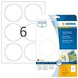 Herma 5068 Universal Etiketten rund, ablösbar (Ø 85 mm) weiß, 150 Aufkleber, 25 Blatt DIN A4 Papier matt, bedruckbar, selbstklebend, Movables