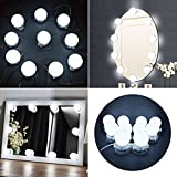 Hollywood Style LED Vanity Mirror Lights Kit with Dimmable Light Bulbs,Bathroom Bulbs Lights for Makeup Dressing Table Vanity Set Mirrors, mirror not included(10bulbs))