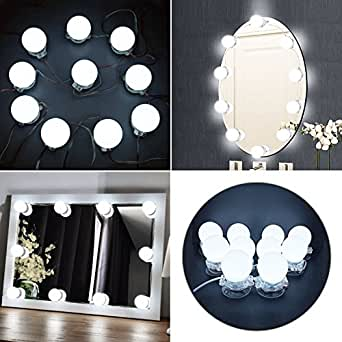 hollywood style led vanity mirror lights kit with dimmable light bulbs bathroom bulbs lights for. Black Bedroom Furniture Sets. Home Design Ideas