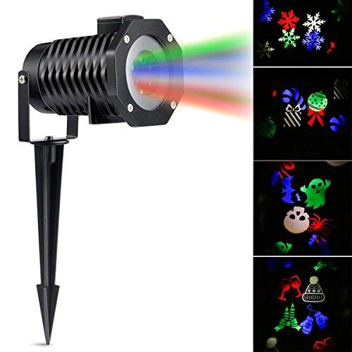 LED Projektor Weihnachten Licht RGB Rasen Licht Outdoor dekorative Licht mit 10 austauschbaren Gobo Folien für Weihnachten Geburtstag Neujahr Halloween Party Urlaub (RGB)