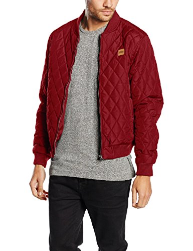 Urban Classics TB862 Herren Steppjacke - Diamond Quilt Nylon Jacke - Ideal als Übergangsjacke, Rot (burgundy 606), Gr. Medium