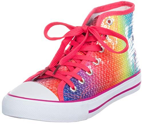 Brandsseller Damen Sneaker Pailletten Halbhoch/Damenschnürer/Damenboots - Silber - Schwarz - Pink (40 EU, Bunt)