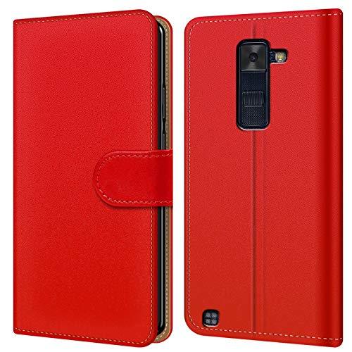 Conie BW16166 Basic Wallet Kompatibel mit LG G4 C, Booklet PU Leder Hülle Tasche mit Kartenfächer & Aufstellfunktion für G4 C Case Rot