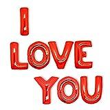Decoración para Dia de San Valentín – 7 Globos de Helio de I Love You Rojo y Grande –– Adorno Decorativo de 45cm con Mensaje de Te amo - Accesorio de Fiesta