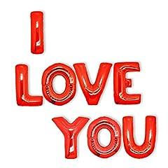 Idea Regalo - Valentines I Love You Baloons: Decorazioni di San Valentino - Palloncini ad elio con lettere rosse grandi con scritta I love you, 8 lettere giganti di 45cm ciascuno