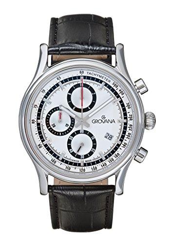 GROVANA - 1730.9532 - Montre Homme - Quartz - Chronographe - Chronomètre - Aiguilles Luminescentes - Bracelet Cuir Noir