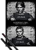 1art1® Poster + Suspension : Supernatural Poster (91x61 cm) Photos De Police Et Kit De Fixation Noir