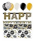 Feste Feiern Geburtstagsdeko Zum 90. Geburtstag | 8 Teile All-In-One Set Luftballon Girlande Konfetti Gold Schwarz Silber Party Deko Happy Birthday
