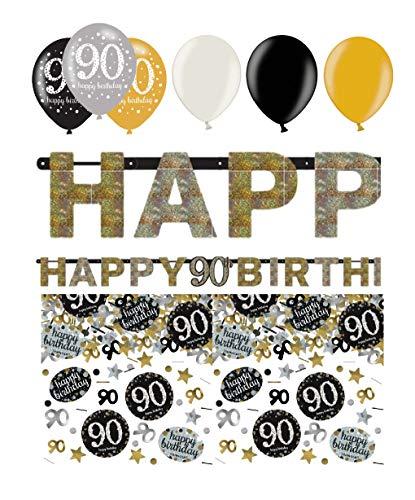 (Feste Feiern Geburtstagsdeko Zum 90. Geburtstag | 8 Teile All-In-One Set Luftballon Girlande Konfetti Gold Schwarz Silber Party Deko Happy Birthday)