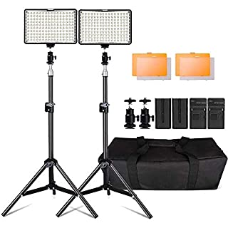 Photography 160 LED Studio Lighting Kit for Canon Nikon Sony, 160 Dimmable Ultra High Power Panel Digital Camera / Camcorder Video Light with 79