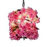 CHANG-dq Lampadario rotondo, Lampadario in ferro battuto con fiori in ferro battuto Ristorante Camera da letto Bar Lampadario per negozio di fiori E27, 25 * 25 * 25CM Illuminazione domestica