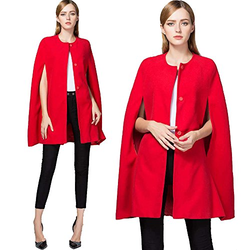 Cape Coat rot lässig Open Front Long Mantel Cape Solid Color Anzug Jacke
