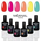 Smalto Semipermanente per Unghie • Gel UV LED 6 Colori • Kit per Manicure Semipermanente con 6 Smalti Nail Polish Soak Off Gel • Norme CE Europee • Meanail Paris