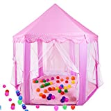 【SALES PROMOTION】Princess Castle Play Tent,EletecPro Fairy Pink Hexagon Kids Outdoor & Indoor Play Tent Playhouse For girls And Boys (Pink tent)