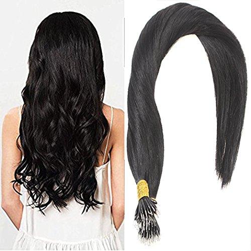 Sunny 100% estensione capelli veri jet nero 1# remy nano rings loop extension dei capelli umani 24 pollice 50g 1g/ciocche