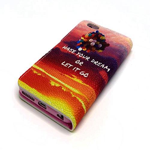 Uklayfe Book Style Design Portafoglio Custodia in pelle Cuoio Custodia Protettiva Portafoglio Flip Case Cover per iphone 6 Plus/6S Plus (5.5 pollice) con funzione di supporto e chiusura magnetica Con  Nuvole rosa e palloncini