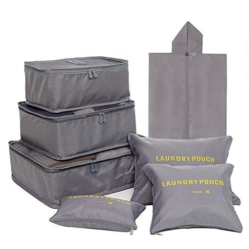 FunYoung Kleidertaschen-Set 7-teilig Reisetasche in Koffer Wäschebeutel Schuhbeutel Kosmetik Aufbewahrungstasche Farbwahl (Grau)