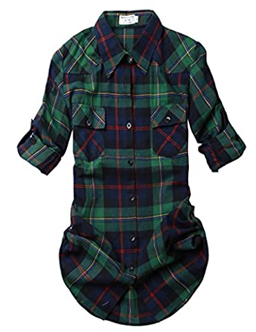 Match Women's Long Sleeve Flannel Plaid Shirt #2021(2021