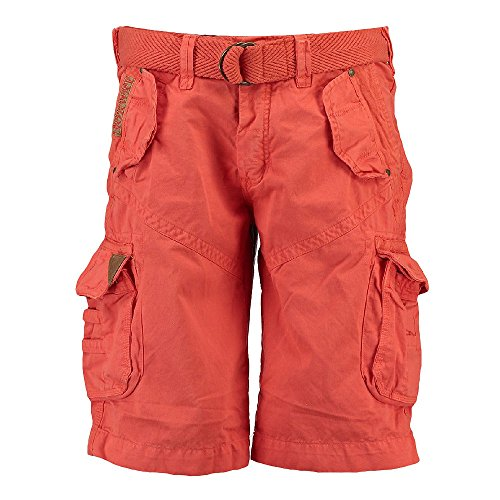 Geographical Norway Herren Cargo Shorts kurze Bermuda Hose Polish Men Mandarine (orange rot), Größe:L (Kurze Cargo Hose)
