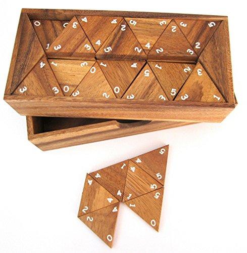 Logoplay Holzspiele Tridomino - Triomino - Dreieck-Domino - Legespiel - Gesellschaftsspiel aus Holz mit weißen Zahlen