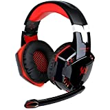 EasySMX Comfortable LED 3.5mm Stereo Gaming LED Lighting Over-Ear Headphone Headset Headband with Mic for PC Computer Game With Noise Canelling & Volume Control (Black with Red)