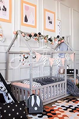 cama montessori infantil casita. Color gris