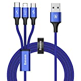 Baseus Multi USB Kabel Universal USB Ladekabel 3 in 1 Mehrfach 3A 1.2m für Smartphone.(Blau)