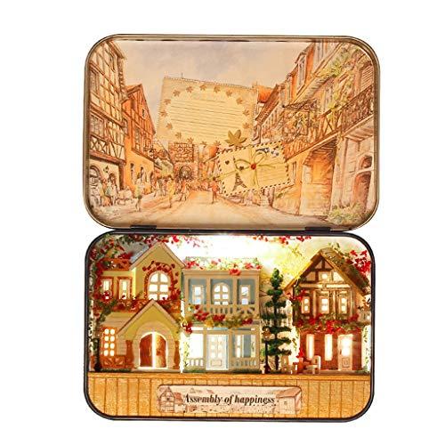 jfhrfged Mini-Szene aus Holz Mini-Lernspielzeug DIY Puppenhaus Möbel handgefertigt Box Secret Assembly House Modell Puzzle Spielzeug - Holz Audio - / Video-möbel