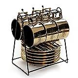 YILIAN kafeiyongpin Italienische Espressotasse Set Haushalt Keramik Nachmittagstee Set 6 Tassen 6 Teller 6 Löffel mit Becherhalter (Farbe : A)