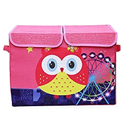 UberLyfe Pink Foldable Kids Toy Storage Box with Red Owl and Ferris Wheel (KSB-667)