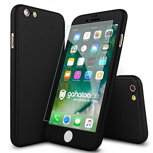 CASYLT® iPhone 6 / 6s Hülle 360 Grad Fullbody Case [inkl. 2X Panzerglas] Premium Komplettschutz Handyhülle Schwarz