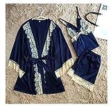 Nhequren Women Pyjamas Lace Sexy Sleepwear Female Summer Satin Pajamas for Women Kimono Elegant Silk Pajamas Blue XXL