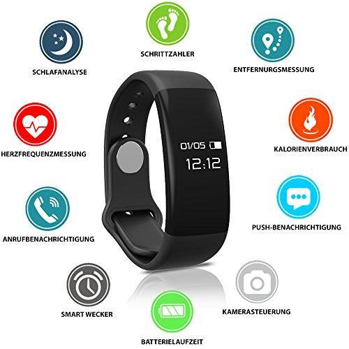 Fitness Tracker HeiterBlau / Powerarmband / Sport Uhr / Smartwatch iPhone & Android mit Pulsmesser, Herzfrequenzmessung am Handgelenk, Schrittzähler, Schlaftracker, Vibrationswecker / Geschenk