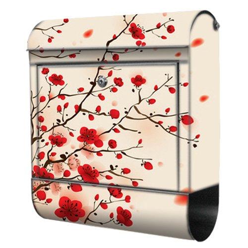 Briefkasten bunt Edelstahl Zeitungsfach motivX Kombin Wandbriefkasten mit Motiv Ast mit roten Blüten