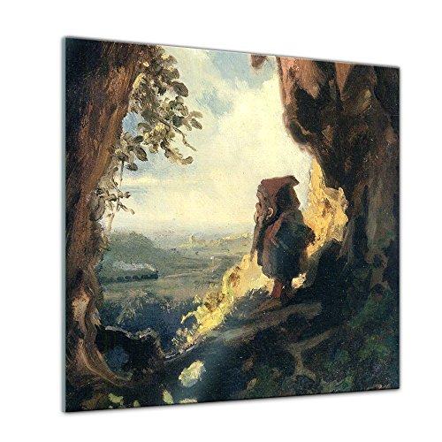 Glasbild Carl Spitzweg - Alte Meister - Gnom, Eisenbahn betrachtend - 50x50 cm - Deko Glas -...