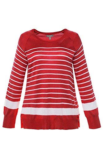 Ulla Popken Femme Grandes tailles Pull Femme Large Top à Manches Longues Tunique Casual Mini Robe 714972 rouge éclatant