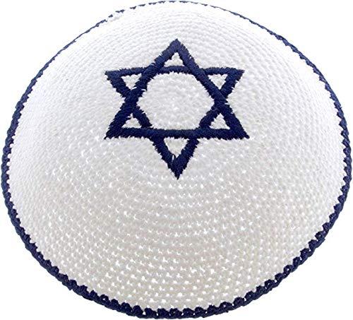 Gestrickt weiße Kippa jüdische Israeli Judaica Kipa mit (Tragen Jude Kostüm)