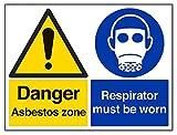 vsafety 6b020bf-r Gefahr Asbest Zone/Atemschutzmaske zu tragen, Achtung-Zeichen, starrer Kunststoff, Landschaft, 400mm x 300mm, schwarz/blau/gelb