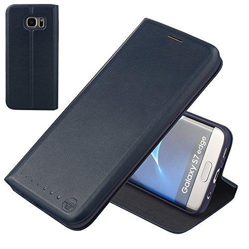 Nouske étui à rabat Folio en cuir pour Samsung Galaxy s7 Edge, Cover Coque TPU Porte cartes avec Support Protection intégrale,Bleu Marin