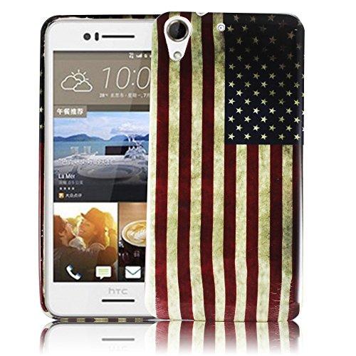 HTC Desire 728G USA VINTAGE Silikon Silikon Schutz-Hülle weiche Tasche Cover Case Bumper Etui Flip smartphone handy backcover Schutzhülle Handyhülle thematys®