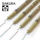 Sakura Pigma MicronPigment Fineliner,4er-Pack , Nr. 01, 0,25mm,schwarz, blau, rot und grün
