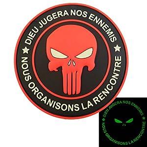 Glow Dark Punisher DIEU JUGERA NOS ENNEMIS DEVGRU Marine Navy Seals PVC 3D Velcro Écusson Patch
