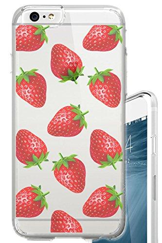iPhone 6S Schutzhülle Erdbeeren Überlast Fruit Schönes Food klar Translucent Transparent Einzigartiges Design Muster Cover für iPhone 6S auch passend für iPhone 6 Rot Cover Case Snap