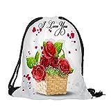 Dorical Rucksack Bag (39 x 32 cm) Valentinstag-Kordelzugbeutel Bunter Happy Süß 3D Gedruckt...
