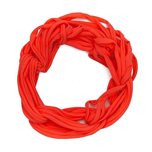MANUMAR Loop-Schal für Damen einfarbig | feines Hals-Tuch in neon rot als perfektes Herbst Winter Accessoire | Schlauch-Schal | Damen-Schal | Rund-Schal | Geschenkidee für Frauen und Mädchen