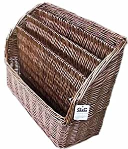 LARGE RUSTIC FRENCH WICKER MAGAZINE RACK