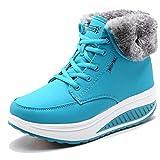 CAGAYA Damen Winterschuhe Warm Gefüttert Schneestiefel Fitness Keile Plattform Schuhe Outdoor Sneaker Stiefel (37, Blau)